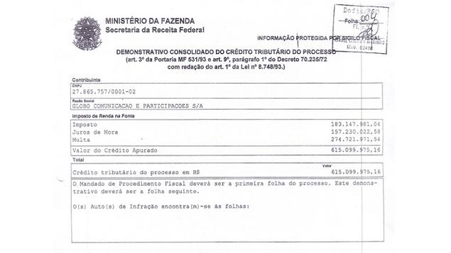 Um dos documentos que provam a dívida da Globo com o Erário brasileiro tornou-se público nesta quinta-feira